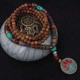 Wholesale nepal beads - Wholesale- fashion evade enamell ethnic necklace,life tree vintage plate Nepal jewelry,handmade sanwood bodhi beads vintage necklace