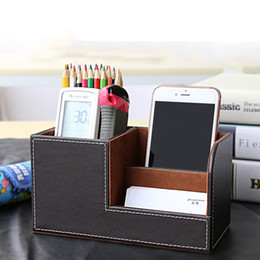 Wholesale Multifunctional Leather Office Desk Organizer Desktop Stationery Storage Box Collection Business Card Pen Pencil Mobile Phone Holder
