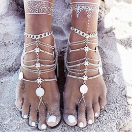 Wholesale Toes Sandals Women - Barefoot Sandals Stretch Anklet Chain with Toe Ring Slave Anklets Chain Retaile Sandbeach Wedding Bridal Bridesmaid Foot Jewelry