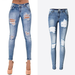 Wholesale Brand New Ladies Jeans - Wholesale- 2017 New Style Women Brand Clothing Vintage Jeans Trousers Bleached Hole Moustache Effect Lady Fitness Denim Jeans Pencil Pants