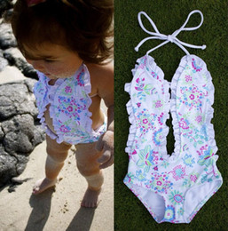 Wholesale Girls White Swimsuit - 2017 Fashion Girls Baby Clothing Bikini White Floral Split One-pieces Swimsuit Bathing Suit Swimming Clothes 1-6T