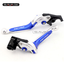 Wholesale R6 Clutch Lever - For YAMAHA YZF R6 YZF-R6 2005-2016 Blue+Silver Motorcycle Adjustable Folding Extendable Brake Clutch Lever logo YZFR6