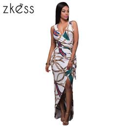 Wholesale High Cut Briefs - 2017 Chic Chain Print High Split Maxi Dress Women Knitted V Neck Pencil Bodycon Dress Cut Out Party Dress Vestidos LC61533 17414