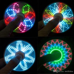 Wholesale Kids Toys Home - Cool coolest led light changing fidget spinners toy kids toys auto change pattern 72 styles with rainbow light up hand spinner