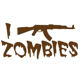Wholesale Pink Zombie - Wholesale 10pcs lot I Shoot Zombies Ak47 Assault Rifle Shooting Car Sticker for Window Bumper Door Motorcycle Home Decor Kayak Vinyl Decal
