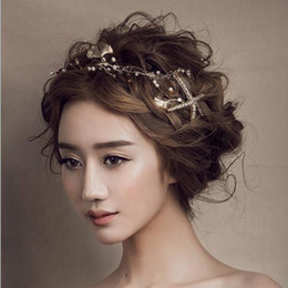Wholesale Bronze Headband - 2017 Ancient Bronze Hair Jewelry Bride Starfish Crowns Leaves Crystal Tiaras Wedding Hair Accessories Gold Bridal Pearls Tiara Headband