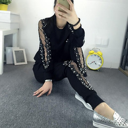 Wholesale Large Size Tracksuits - Tracksuits Top Fashion Full Lace Large Size Women's Suit New 2017 Increase The Of Fashionable Hollow Yarn Drilling Two Xxxxl