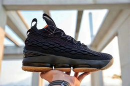 Wholesale Best Low Cut Basketball Shoes - 2018 Best Quality Real Zoom LeBron 15 Black Gum Mans Basketball Shoes Space LBJ Jams Running Sneakers Come With Original Box 897648-300