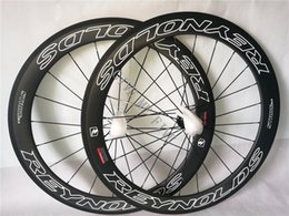 Wholesale Road Bike Skewers - Reynolds STRIKE SLG 700C 60mm tubular rims road bicycle matte 3K UD 12K full carbon fibre bike wheelset aero spoke skewers Free shipping