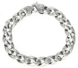 Wholesale Cross Casting - 316L Stainless Steel Mens High Polished Cross Flower Symbol Casting Double Curbed Linked Chain Bracelet