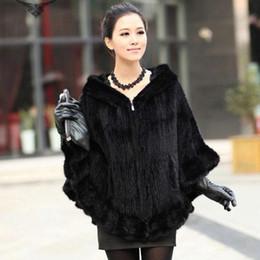 Wholesale Genuine Fur Cape - Knitted Genuine Fur Shawl Wrap Cape women fur coat winter fur jacket free shipping F138