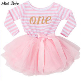 Wholesale Yellow Princess Dress Costume - Hot Girls Dresses Kids Princess Costume For Infant First Birthday Party Wear Tutu Dress Girls Clothes For Newborn 0-2Yrs