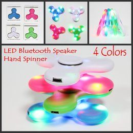 Wholesale Audio Bluetooth - 2017 Fidget Spinner 4 Colors with Bluetooth audio LED Usb Hand Spinners Finger spinner toy in Retail Packaging Decompression Toys