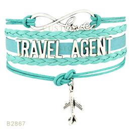 Wholesale Men Silver Turquoise Bracelet - (10 PCS Lot) Infinity Love Travel agent aircraft Charm Bracelets For Women Men Jewelry Gifts Red Black Turquoise Wax Leather Wrap Bracelets