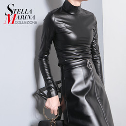 Wholesale Leather Tees - Wholesale- New 2016 European Women Autumn Winter Faux Leather PU Tee Top Black Solid Long Sleeve Turtleneck Slim Sexy Hot T-shirt Style 781