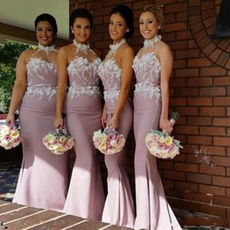 Wholesale Cheap Peach Mermaid Dresses - 2017 Hater Beach Peach Mermaid Bridesmaid Dresses Sheer Neck Applique Satin Long Custom Made Cheap Bridesmaid Gowns Formal Dresses BO8916