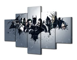 Wholesale Framed Comic Art - 5 Pcs Set Framed HD Printed Batman Dark Knight Comics Picture Wall Art Canvas Room Decor Poster Canvas Modern Oil Painting