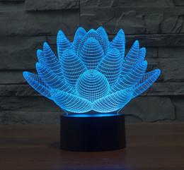 Wholesale Lotus Nightlight - Wholesale- Flowers Lotus LED Night Light Luminaria 3D Illusion Lamp Kids Room LED Lights Holiday Home Decoration Nightlights Office Lamp