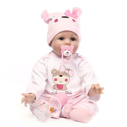 Wholesale Reborn Mohair - 22inch Reborn baby dolls girls toy %100Handmade 55CM silicone vinyl newborn lifelike baby dolls with clothes mohair very cute