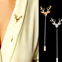 Wholesale 14k Stick Pin - Men Retro Deer Head Horn Elk Antler Stag Lapel Stick Pin Tie Hat Scarf Brooch for father boyfirend birthday gift
