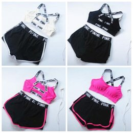 Wholesale Cotton Pants Bra - PINK Tracksuit Women Summer Sport Wear Cotton Yoga Suit Fitness Bra Shorts Gym Top Vest Pants Running Underwear Sets Runner Outfits B2601