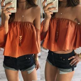 Wholesale Elastic Woman Top - 2017 womens tops new fashion blouse tops ff the shoulder elastic slash neck ruffle loose red orange