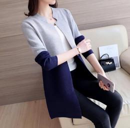 2017 otoño invierno suéteres para las mujeres de estilo coreano de manga larga chaqueta de las mujeres abrigo azul marino rosa y gris colores desde fabricantes
