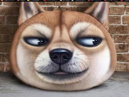 Caja con forma de coche online-Eco Friendly Creativo 3D Grumpy Cat Face Design Throw Plush Algodón Cojín del coche Funda de almohada Almohada en forma de cabeza de animal sin relleno