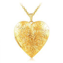 Conjuntos de oro 18k online-Joyería al por mayor Gran Corazón Medallones Collar Charm Necklace 18k chapado en oro Foto Locket Frame Collar Colgante Para mujeres Regalo del amante de las muchachas