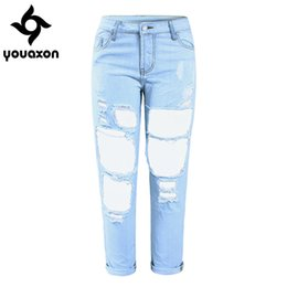 Wholesale Tear Jeans For Women - Wholesale- 1879 Youaxon Women`s Boyfriend Torn Holes Mid Waist Light Blue True Denim Capris For Women Ripped Jeans