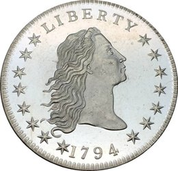 Wholesale Flowing Hair - United States Early Silver Dollars 1794 Coin Flowing Hair Dollars Brass Plated Silver replica coin