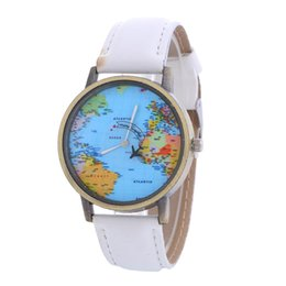 Wholesale World Map Wrist Watch - 2017 New Women Leather World Map Watch Fashion Plane Printing Ladies Cowboy Dress quartz wrist watches for women ladies