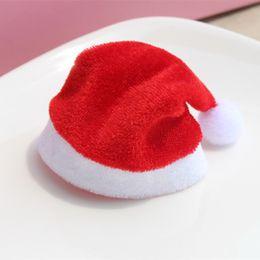 Wholesale polyester cloth suppliers - 100Pcs  Lot 2016New Arrival Cerative Gift Christmas Cap Decoration Cute Cup Velvet Cap Cosmetics Hat Home Shop Decor Xmas Suppliers