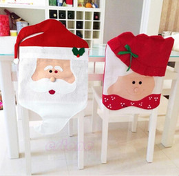 Wholesale Santa Clause Christmas Decoration - Xmas Santa Clause Hat Chair Back Covers Cover Christmas Dinner Decorations New Year Party Supply Favor In Stock Free Shipping