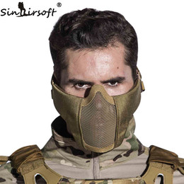 Wholesale Net Masks - SINAIRSOFT Tactical Airsoft Mask Helmet Half Lower Face Metal Steel Net Hunting Protective prop for Paintball Party Mask CS