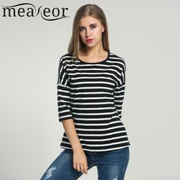 Wholesale Women Fitted Crew Neck Tshirts - Wholesale- Meaneor Women Striped T-shirt 2017 Summer 3 4 Batwing Sleeve Black White Tops Casual O-Neck Tshirts For Women Loose Fit Top Tee