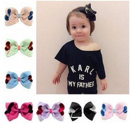 Wholesale Double Bow Clips - Baby little girls barrettes INS style girls double color big bows hair pin children hair accessories kids princess hair clip T4469