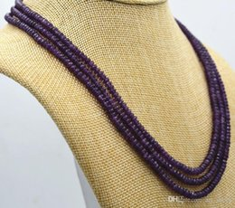 Wholesale Natural Amethyst Necklace Beads - New NATURAL 3 Rows 2X4mm FACETED Amethyst BEADS NECKLACE AAA