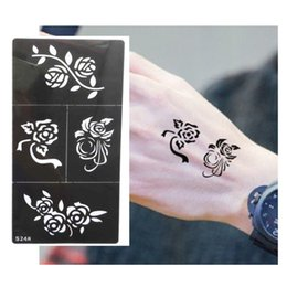 Wholesale Template Stickers - Wholesale-Hot Flower Pattern Tattoo Stencil Drawing For Painting Airbrush Tattoo Stencils For Tattoos Temporary Henna Templates Stickers