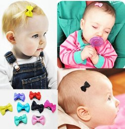 Wholesale Small Hair Accessories - 10 Pcs lot Solid Dot Pringting Mini Small Bow Hair Clips Hair Clips Kids Hair Accessories free shipping