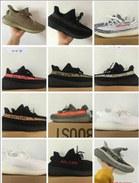 Wholesale White Color Boots - 2017 SPLY-350 Boost V2 Kanye West Boost 350 V2 SPLY Running Shoes Zebra Zebras FTWR WHITE Bred Black Red Grey Orange Stripes 10 Color