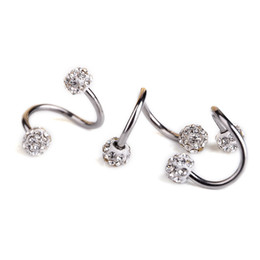 Wholesale Helix Body - 1 Pc Stainless Steel Twist Helix Cartilage Earring Piercing Crystal Rhinestone Balls Nose Lip Ring And Studs Body Jewelry