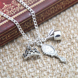 Wholesale Apple Snow - 12pcs lot Snow White Inspired Charm Necklace crown apple mirror charm Necklace