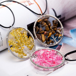 Wholesale Black Steel Wire - Tree of Life Healing Crystal Wire Wrap Natural Gemstone Stone Pendant Necklace Jewelry Colorful Amethyst Charm Life Tree Womens Necklaces