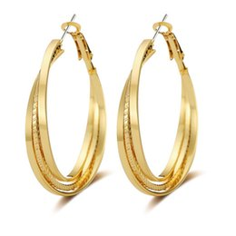 Wholesale Samples For Earrings - new arrival fashion jewelry sample gold silver plating hoop clip on earring with stud for woman