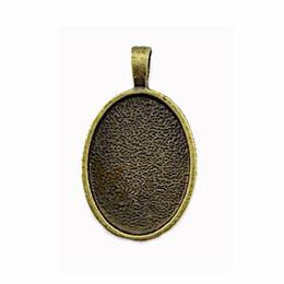 Accessori porta vassoi online-Per adattarsi 18 * 25mm cabochon ovale bronzo antico stile vintage impostazioni del vassoio ciondolo in lega con due anelli accessori gioielli fai da te