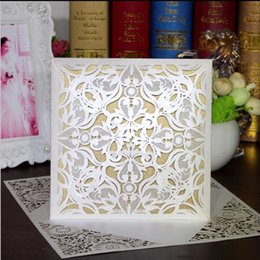 Wholesale Beige Wedding Invitations - Invitation Cards Wedding Invitation Hollow Flower Wedding Invitation Laser Cut Gift Cards Party Card Business Card Free Printing Customized
