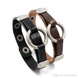 Wholesale Men S Leather Set - Trendy street shot punk wristband Alloy ring nightclub men 's bangle Vintage Rivet with snap Buckle Genuine Bracelet wholesale