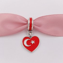 Wholesale Charm Turkey - 925 Silver Beads Turkey Heart Flag Red White Enamel Fits European Pandora Style Bracelets Necklace for jewelry making 791552ENMX