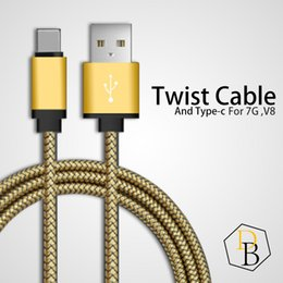 Wholesale Micro Twist - High Speed Cable Space Style Twist Line Charging Stuff For 7G Samsung Huawei Type-c Data Sync Micro USB 1m 2m Android Charger